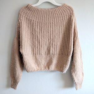Chelsea & Violet Blush Fuzzy Cable Eyelash Sweater